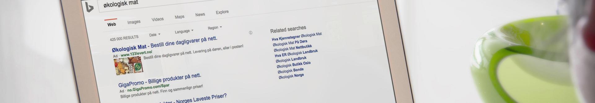 Laptop med skjermbilde fra Bing