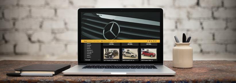 Laptop med skjermbilde fra bruktbilparken.no