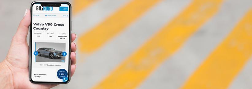 iPhone med skjermbilde fra bilinord.no