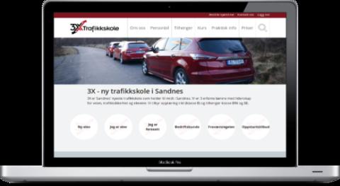 Skjermbilde av 3X Trafikkskole sine nettsider