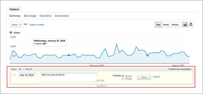 Legg til merknad i Google Analytics