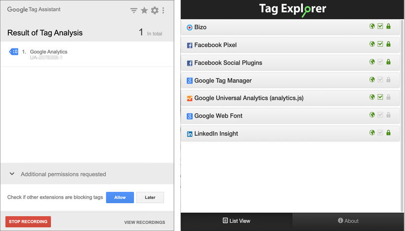 Tag Assistant og Tag Explorer
