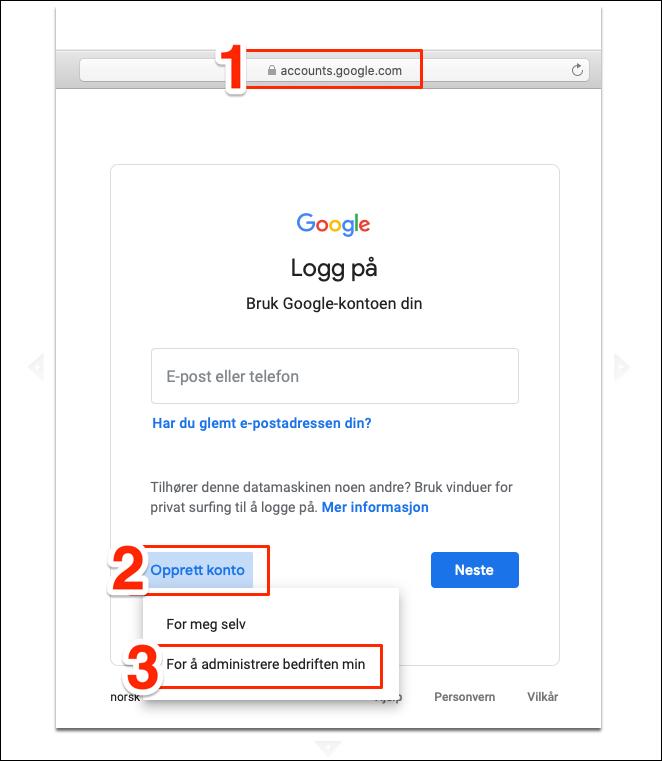 Opprett Google konto