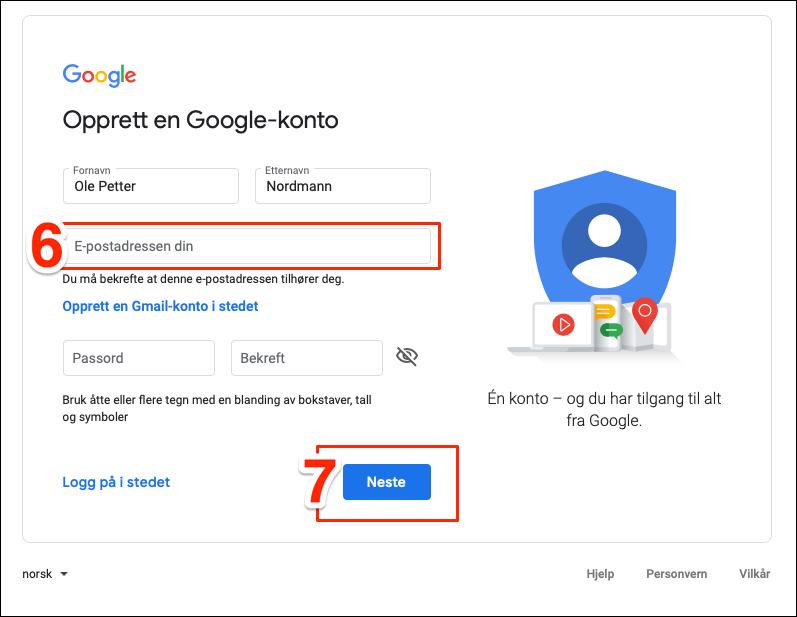 Opprett Google konto steg 6-7