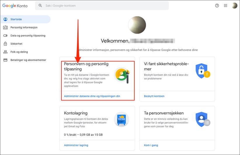 Google konto engelsk steg 2