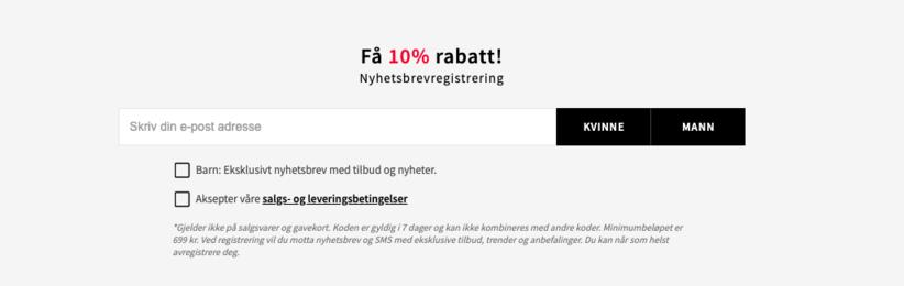 skjermbilde - hvordan en nettbutikk gir 10 prosent rabatt