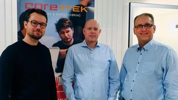 Terje Henden og Thomas Ekdahl fra Empatix og administrerende direktør i CoreTrek Kristian Susnic