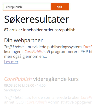 Core Publish - Søkeresultat