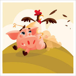 Illustrasjon av gris og høner