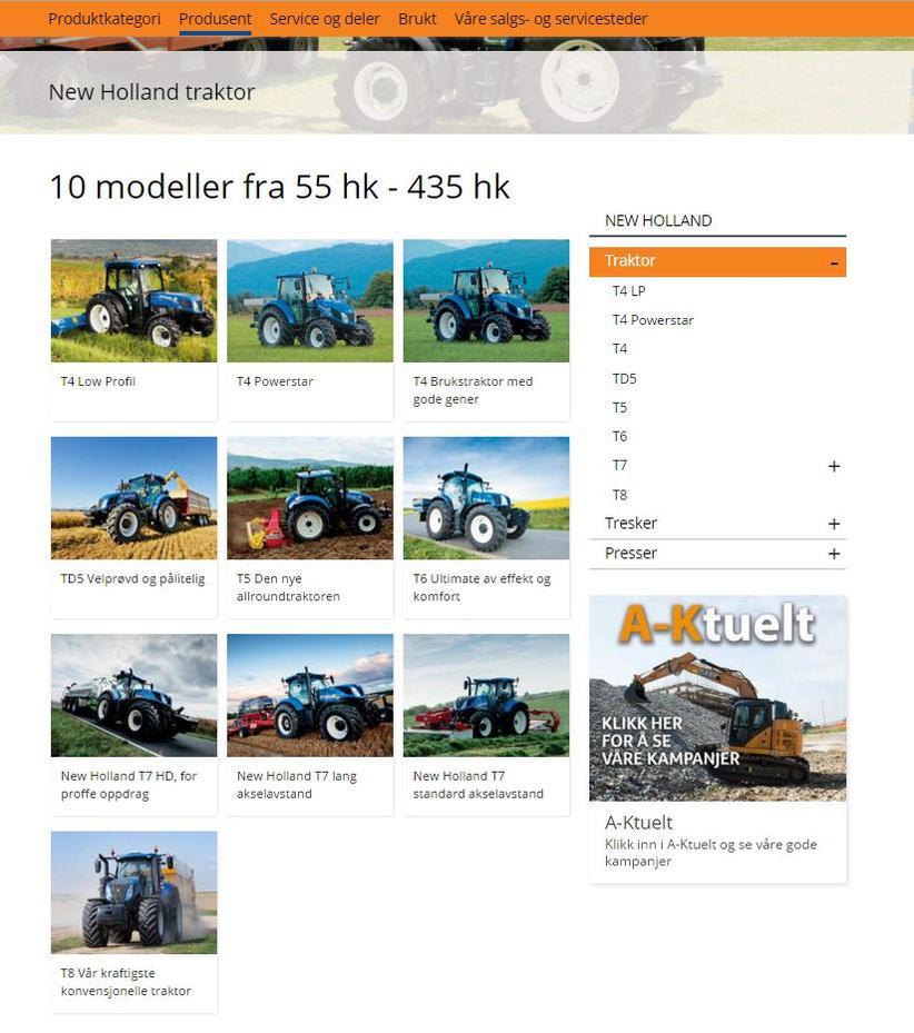 Utvalg av traktorer hos A-K maskiner