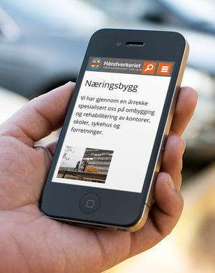 mobil med skjermbilde fra handverkeriet.no